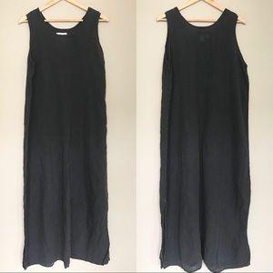 FLAX Charcoal Grey Linen Sleeveless Maxi Dress L